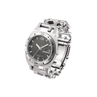 Leatherman tread tempo multi-tool watch in stainless steel, 30 tools, front angled